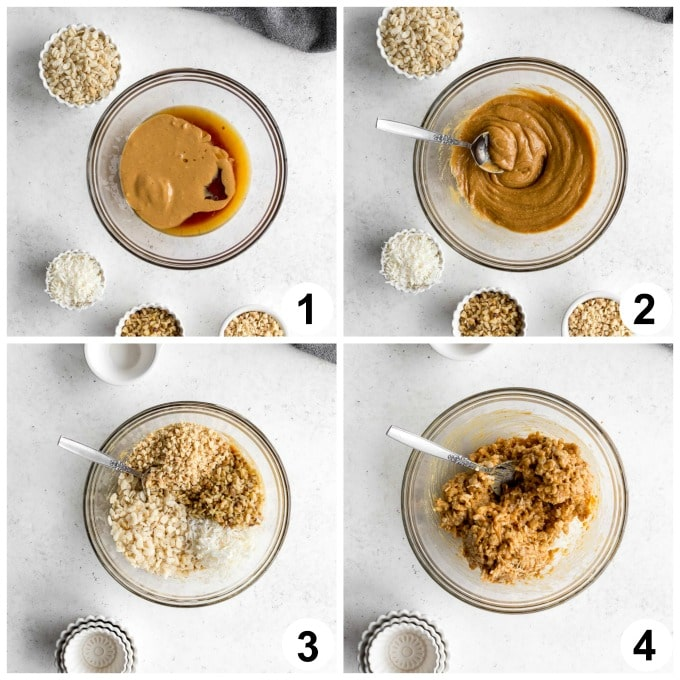 Collage of 4 images showing how the mixture for peanut butter balls comes together.