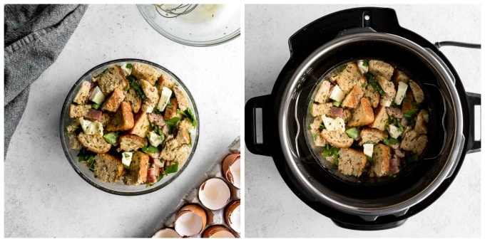 Collage of 2 photos - one of the strata assembled in a glass dish and the other of the strata in the Instant Pot.