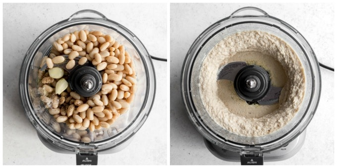 Collage of 2 photos showing white bean dip coming together in the food processor.