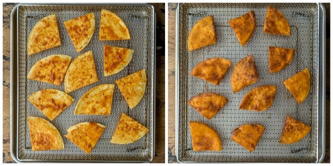 Collage of 2 photos demonstrating how zesty cheese chips are air fried.