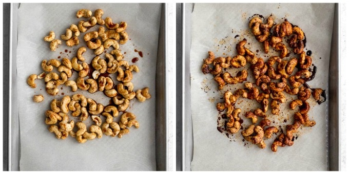 Collage of two photos of cashew bacon on a sheet pan.