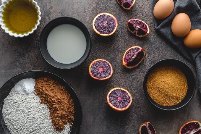 Ingredients to make blood orange chocolate cake.