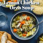 Pinterest image for Instant Pot Lemon Chicken Orzo Soup - short pin.