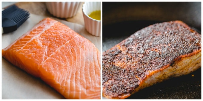 Collage of two images showing before and after salmon being cooked.