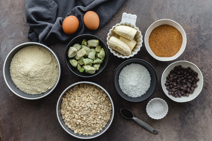Ingredients to make avocado cookies arranged individually.