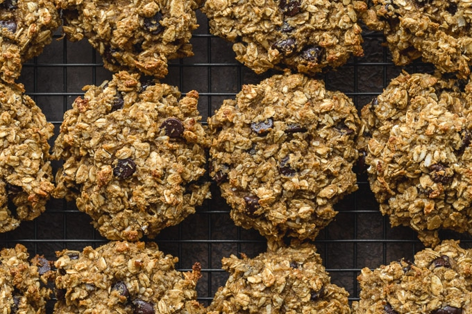 Banana avocado oatmeal cookies cooling on a wire rack.