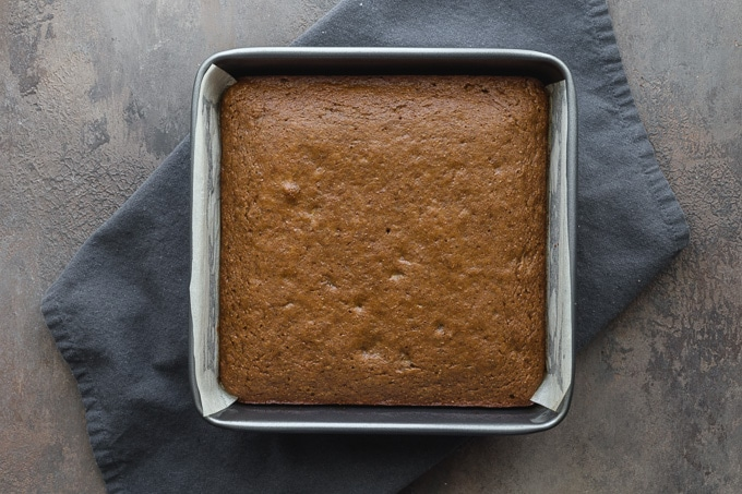 Baked cake cooling in the pan.