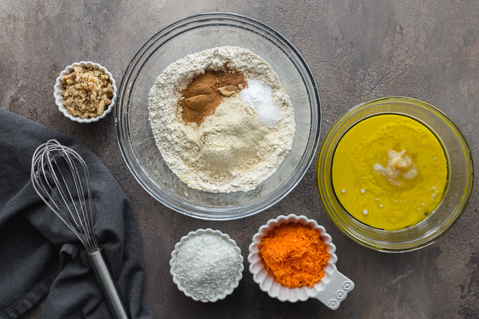 Ingredients to make carrot cake donuts.