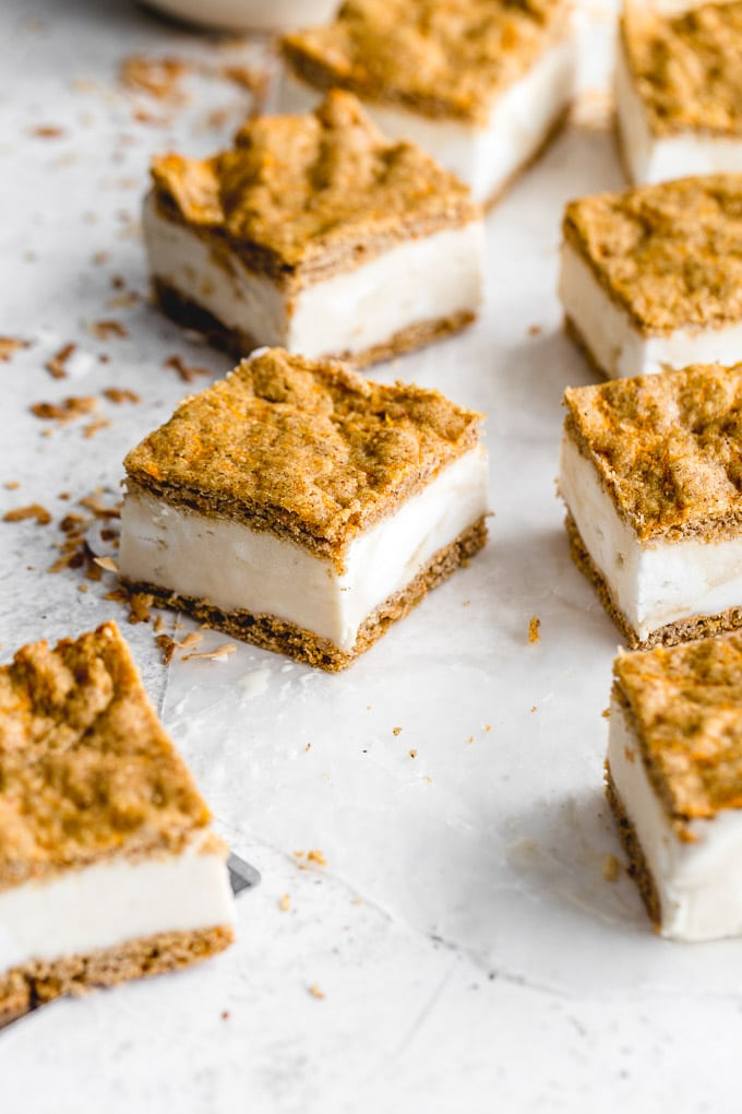 Up-close view of a carrot cake ice cream sandwich square.