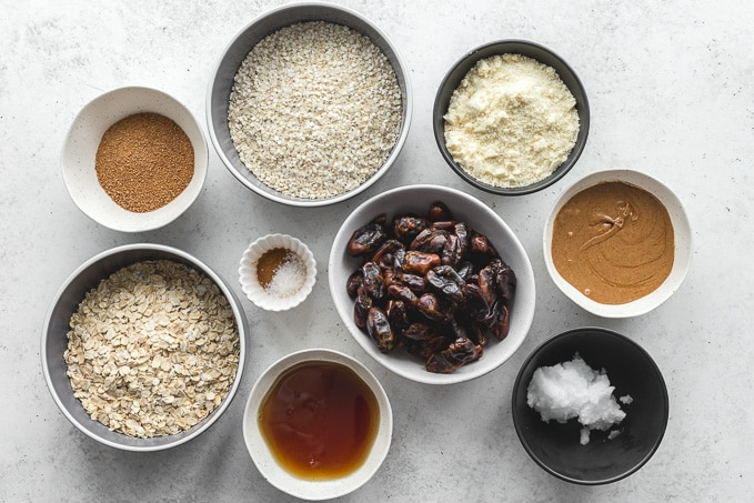 Ingredients to make date crumble bars.
