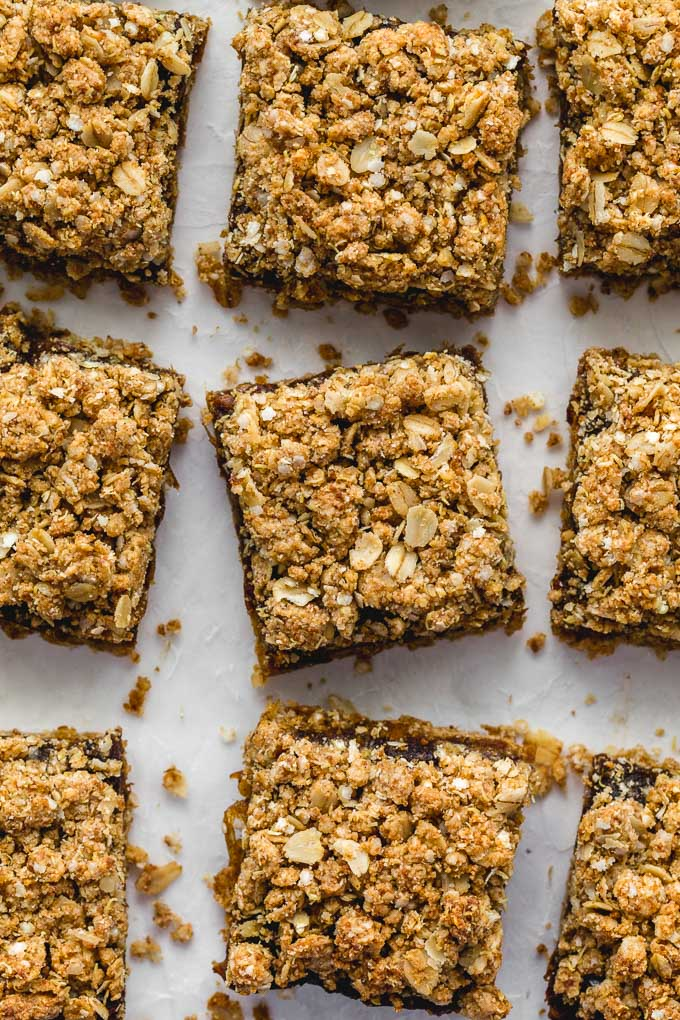 Overhead and up-close view of gluten-free dates squares.