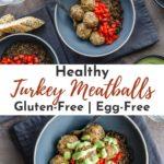 Pinterest image for Honey Garlic Turkey Meatballs - collage pin.
