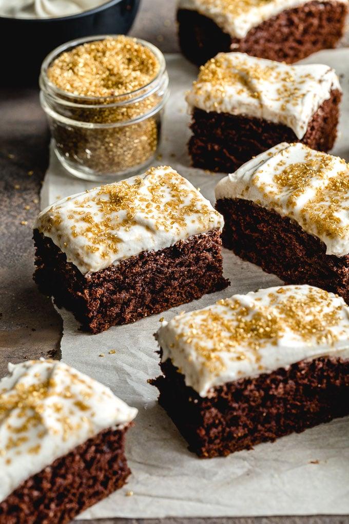 Up-close view of pieces of simple vegan chocolate cake.