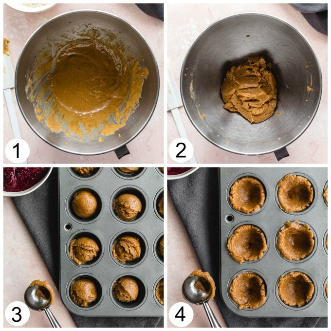 Collage of four photos demonstrating how the cookie cups are mixed together and pressed into the mini muffin pan to create cups.