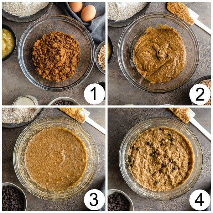 Collage of 4 images demonstrating how the banana bread batter comes together in a glass bowl.