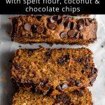 Pinterest image for spelt flour banana bread - pin 2.