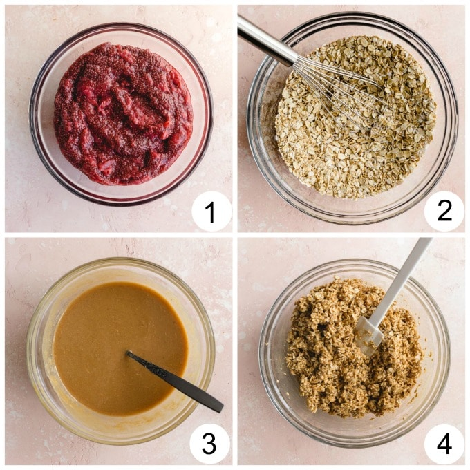 Collage of 4 images showing the process of making the jam and oat mixture.