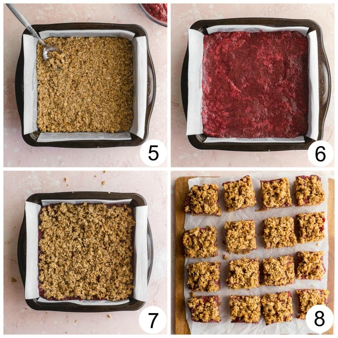 Collage of 4 images showing how the steel cut oat bars are assembled and baked..