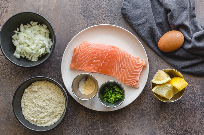 Ingredients to make fresh salmon patties with almond flour.