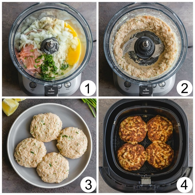 Collage of 4 images showing how the salmon cakes are made in the food processor and then in the air fryer.