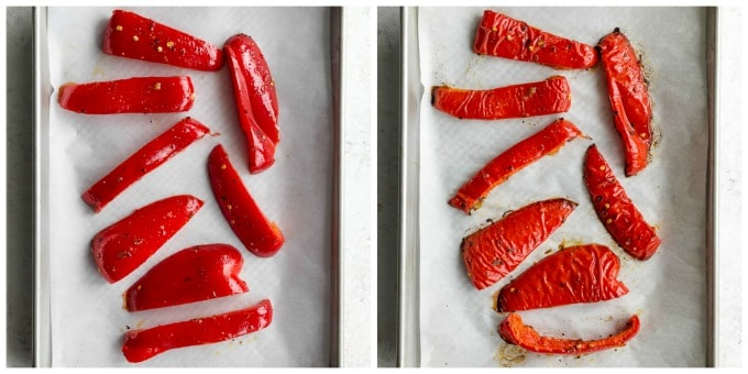 Collage of 2 images showing how the red pepper slices are roasted.
