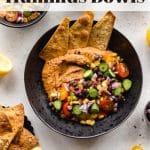 Pinterest image for Black Bean Hummus Bowls - pin 2.