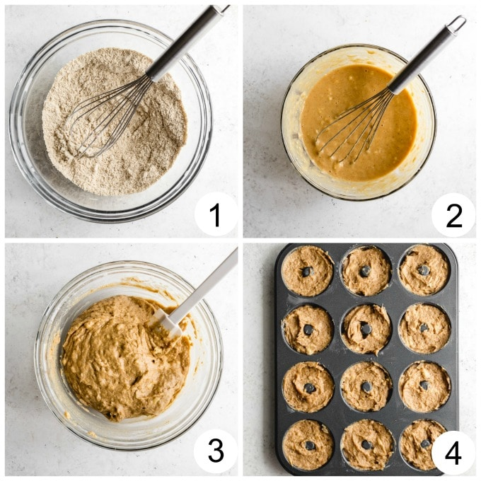 Collage of 4 images showing how the donut batter is made.