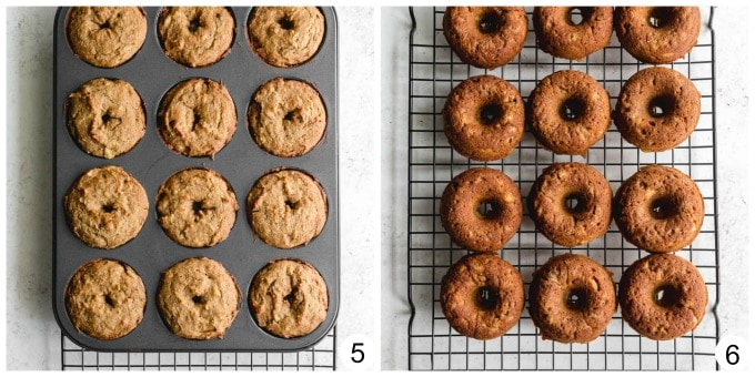 Collage of 2 images showing the baked donuts in the pan and cooling on a rack.