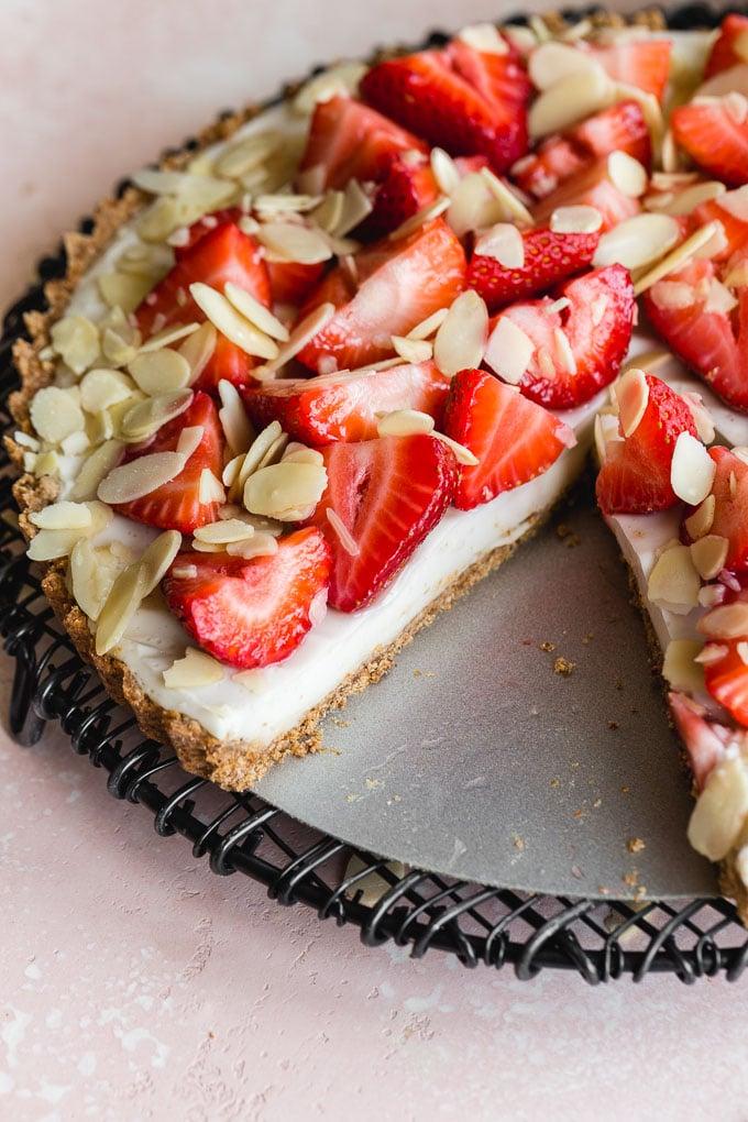 Up-close view of texture of vegan custard tart.