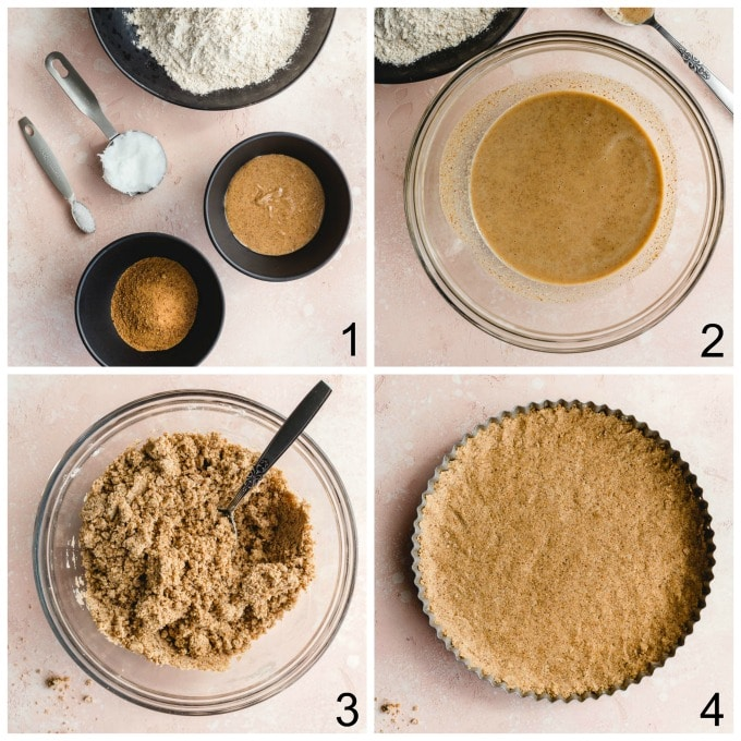 Collage of 4 images demonstrating how the tart crust is made.