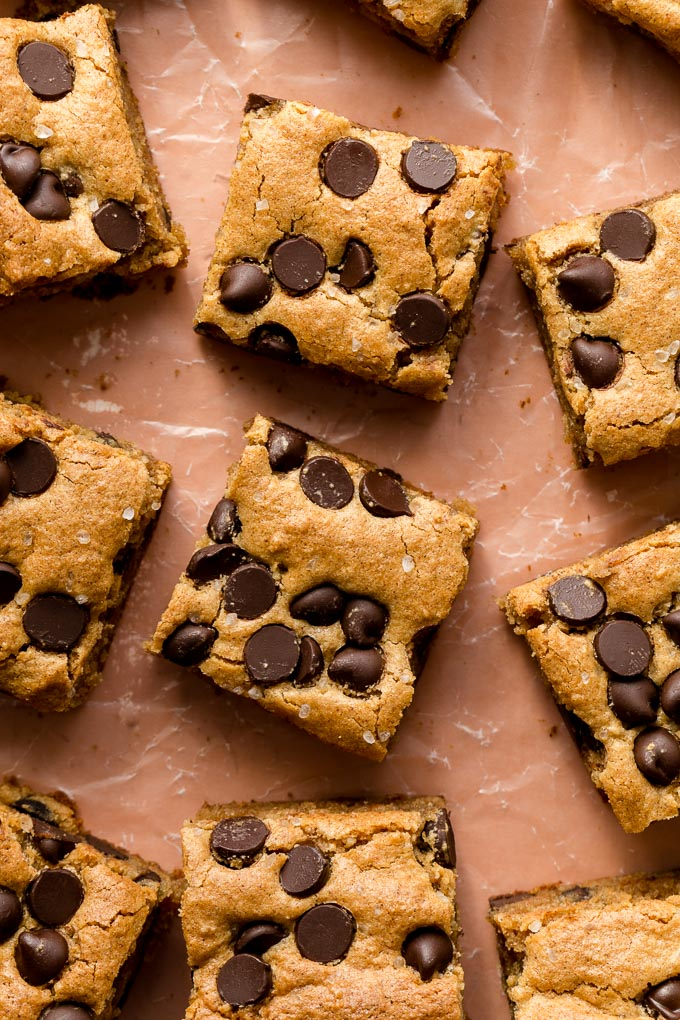 Overhead up-close view of gluten-free blondies cut into bars.