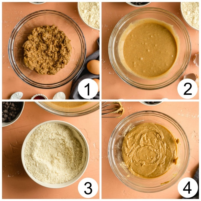 Collage of 4 images showing how the blondie batter comes together in a glass bowl.