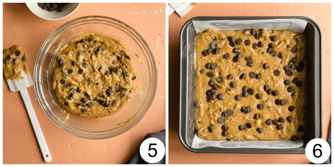 Collage of 2 images showing the blondie batter with chocolate chips - one in a glass bowl and the other spread out in a pan.