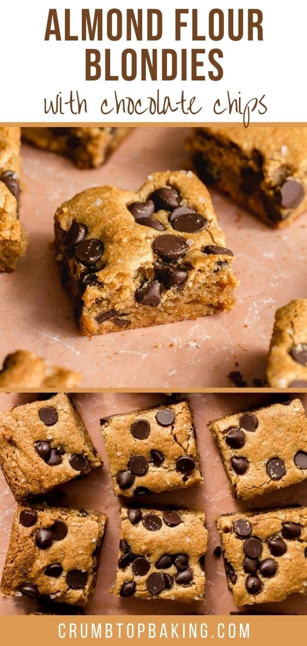 Pinterest image for Almond Flour Blondies - long pin.