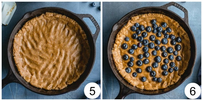 Collage of 2 images showing how the dough is pressed into the skillet and topped with blueberries.