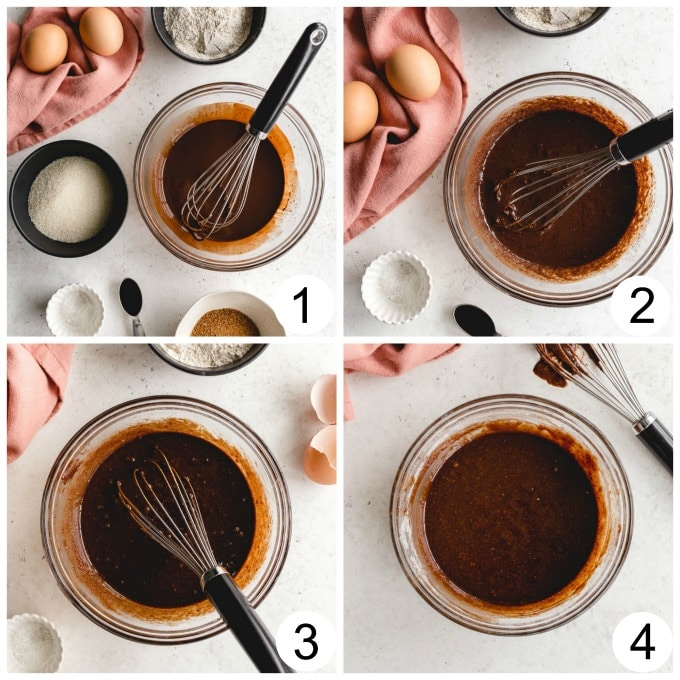 Collage of 4 images demonstrating how the brownie batter is made for the ice cream sandwiches.