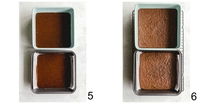 Collage of two images showing the brownie batter in two 8-inch square pans.