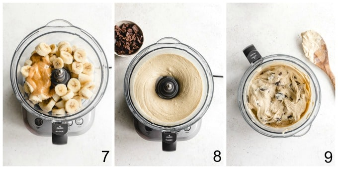 Collage of three images showing how the peanut butter banana ice cream is made in a food processor.