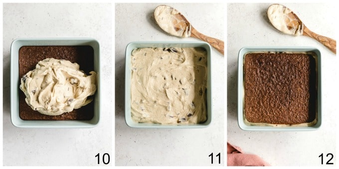 Collage of three images showing how the homemade ice cream sandwiches are assembled.