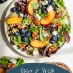 Pinterest image for Summer Peach Salad with Blueberries.