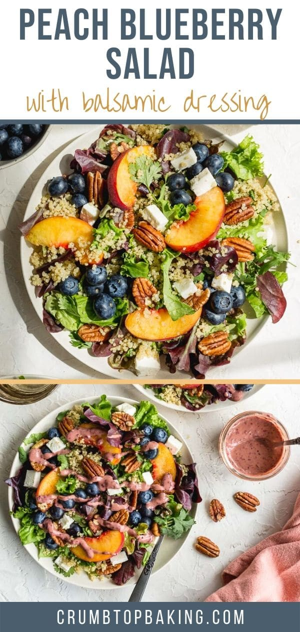 Pinterest image for peach blueberry salad with balsamic dressing.