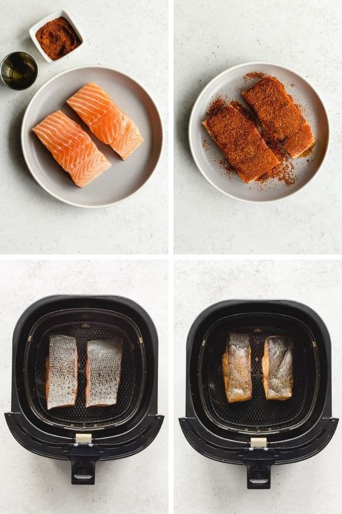 Collage of four images showing how two salmon fillets are seasoned and air fried skin side up in the air fryer.