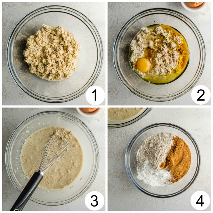 Collage of 4 images showing how the muffin batter comes together in a glass bowl.