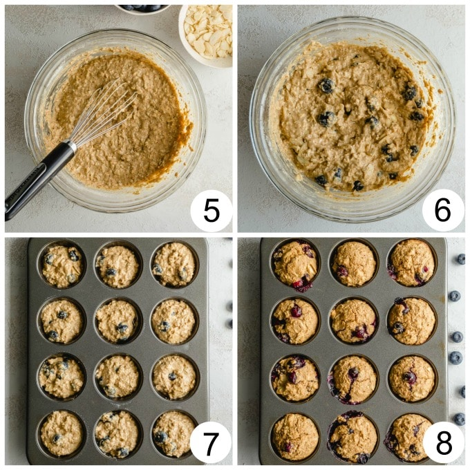 Collage of 4 images showing the blueberry muffin batter going from glass bowl to muffin pan and then baked.