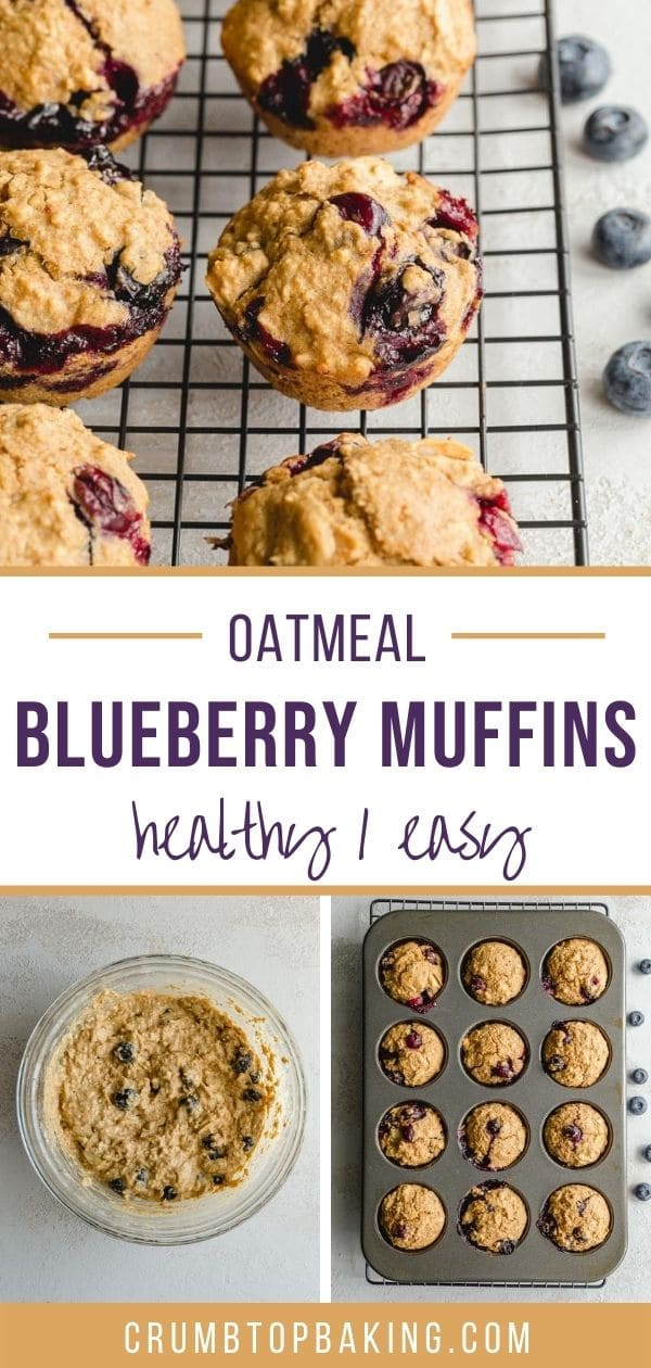Pinterest image for Healthy Blueberry Oatmeal Muffins - long pin.