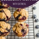 Pinterest image for Healthy Blueberry Oatmeal Muffins - short pin.