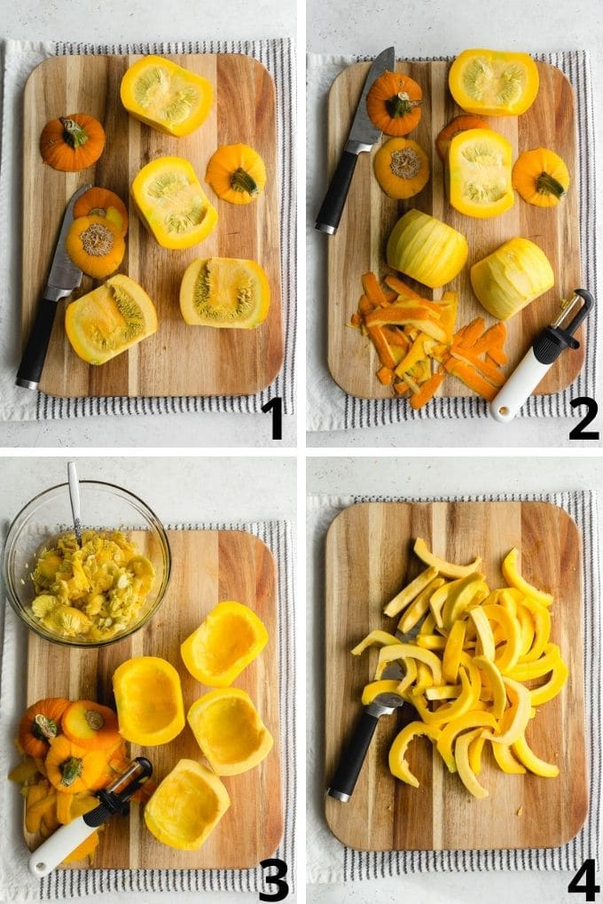 Collage of 4 images showing how to cut small pumpkins on a cutting board with a knife and vegetable peeler.