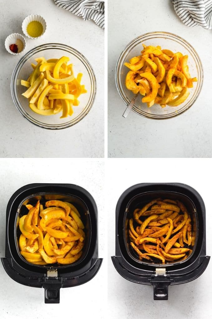 Collage of 4 images showing how to season the pumpkin fries in a glass bowl and cook them in the air fryer.
