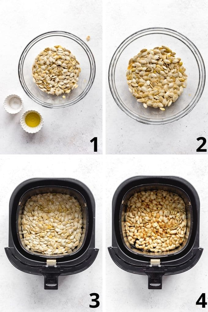 Collage of 4 images showing how the pumpkin seeds are seasoned in a glass bowl and air fried until golden and crispy.