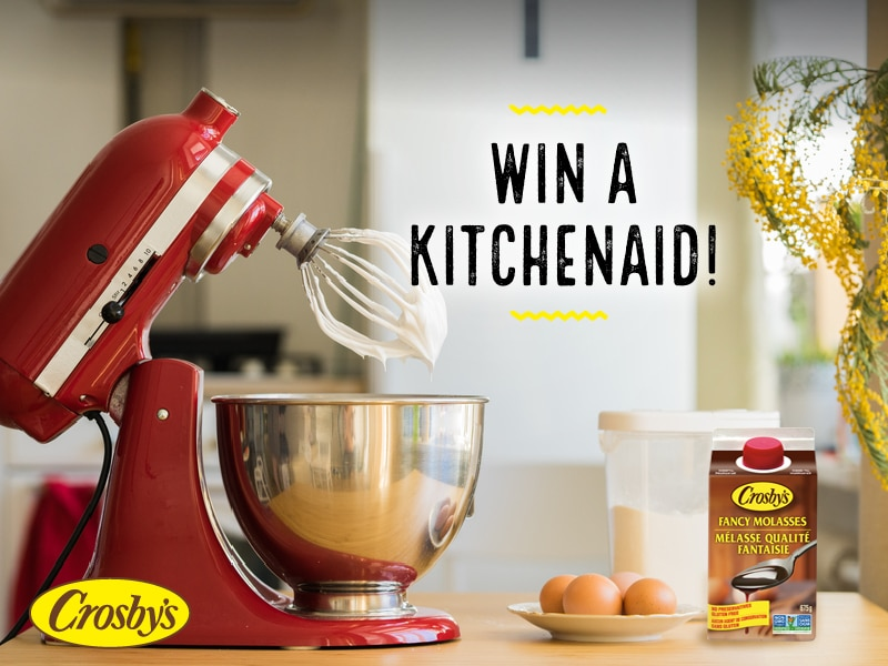 Image of a KitchenAid mixer and Crosby's molasses. The image is promoting the giveaway.
